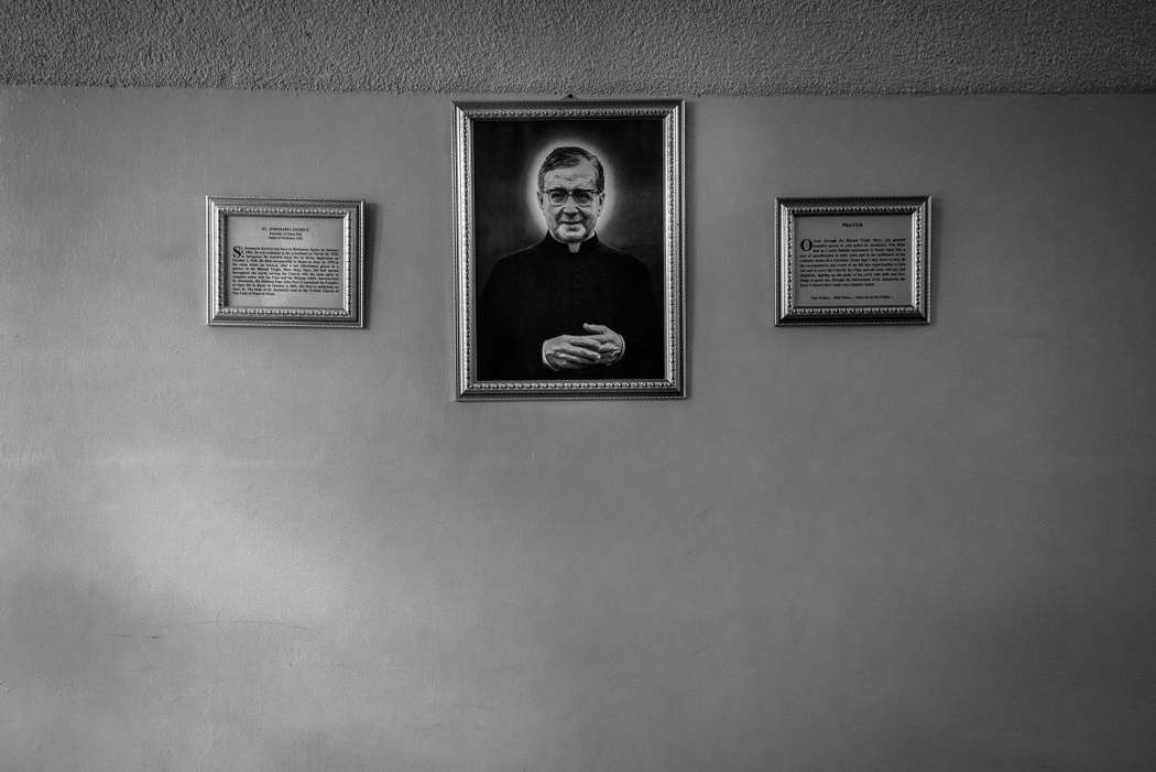 A portrait of Jose Maria Escrivà, a Spanish Roman Catholic priest who founded the Opus Dei organization in the church, inside a chapel at Clark.